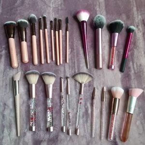 Pink Assorted Makeup Brushes
